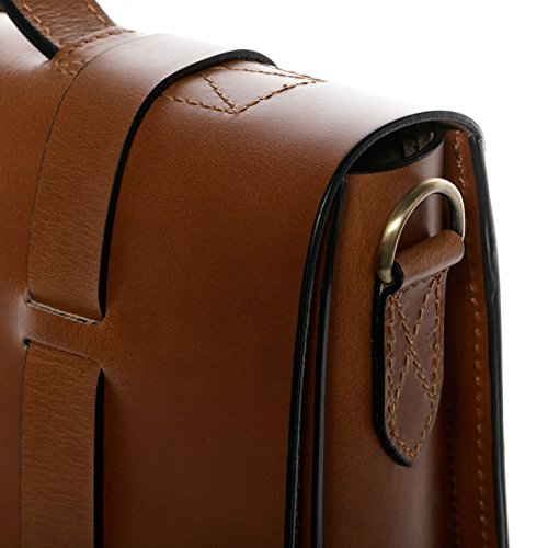 """SID & VAIN Carpeta BOSTON DUO - piel genuina marrón - portafolio para hombro - L - cartera de cuero con asa para el hombro para tablet, iPad, 15"""", laptop (38 x 30 x 10 cm)"""