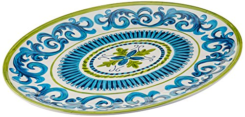 Certified International Corp Blue Grotto Melamine Oval Platter, 18