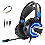 Xbox One Headset for Xbox One, PC, PS4 ect, Gaming Headset (3.5mm Jack Port) with Perfect Surround Stereo Sound, LED Light,Noise Canceling Mic and Volume Control System,Soft Memory Earmuffs
