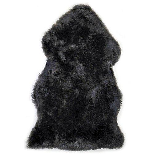 Cheap Genuine Sheepskin Rug Soft Fur Single Pelt Throw Rug for Sofa, Bed Or Floor Decor, (Black)