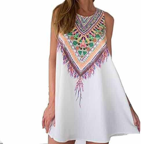 059a8f878ae8 Listeded Vintage Print Women Dress O-Neck Sleeveless Casual Dresses Boho  Sexy Beach Dress Chiffon