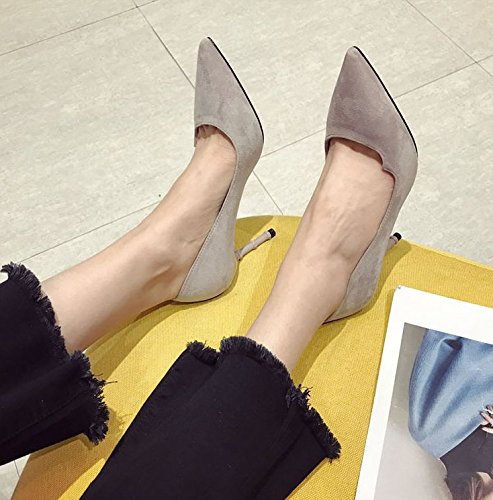 Color Taro Tip Heels Work 9Cm 38 Elegant Leisure Spring Mouth Suede Lady Shoes With MDRW Shallow Simple Fashion Temperament Shoes Fine High wZq6R