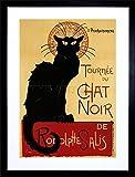 9x7 '' Black CAT Chat Noir Rodolphe SALIS Paris Vintage Framed Art Print F97X199