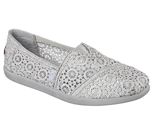 BOBS von Skechers Damen Bobs World Slip-on Flat Silber