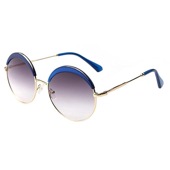 c79ffdec9a8 Amazon.com  Leidisen Men s UV400 Retro Round Sunglasses Blue Frame ...
