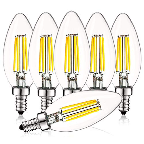 Luxrite 4W Vintage Candelabra LED Bulbs Dimmable, 450 Lumens, 5000K Bright White, E12 LED Bulb 40W Equivalent, Torpedo Tip Clear Glass, Edison Filament LED Candle Bulb, UL Listed (6 ()