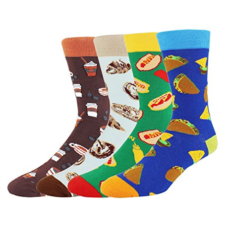 Happypop 4 Pack Men's Funny Novelty Dress Cotton Crew Crazy Food Socks Gift Box