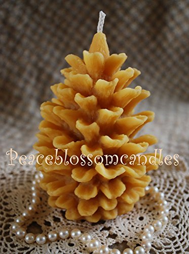 Beeswax Candle Large Open Pine Cone Candle Natural Gold Color