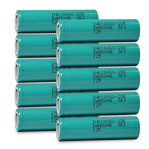 10 Samsung INR18650-20R 18650 2000mAh 3.7v Rechargeable Flat Top Batteries