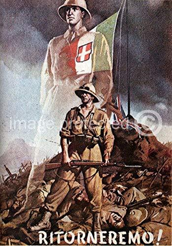 AGS - Ritorneremo! Vintage Italian World War Two WW2 WWII Military Propaganda Poster - 24x36
