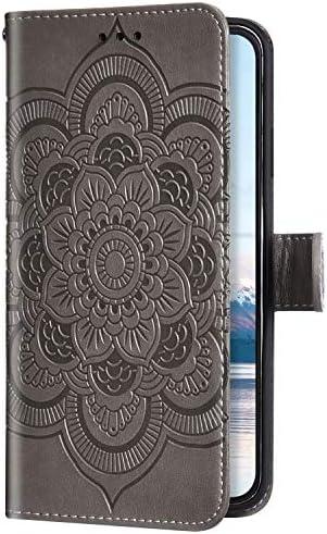 Uposao Kompatibel mit Huawei Honor 20 Handyhülle Mandala Blumen Muster Handy Schutzhülle Ledertasche Flip Case Handytasche Wallet Hülle Bookstyle Klappbar Lederhülle Magnetisch,Grau