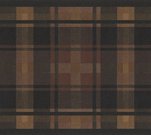Brown Black Plaid Wallpaper Border Stripe Design, Roll 15' x 7''