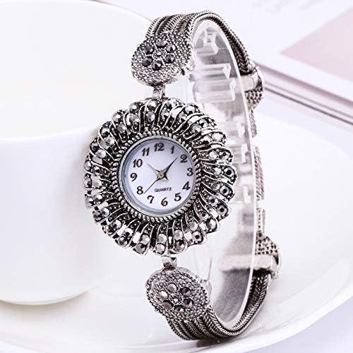 Reloj de Pulsera para Mujer (Plata de Ley 925, Diamantes de imitación), Color Negro y Plateado Envejecido