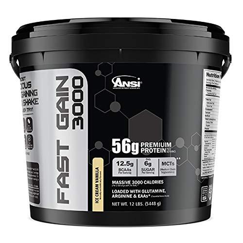 Ansi Fast Gain 3000, Ice Cream Vanilla, 12 Pound