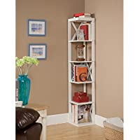 Kings Brand White Finish Wood Wall Corner Bookcase 5 Tier Bookshelf Display Stand