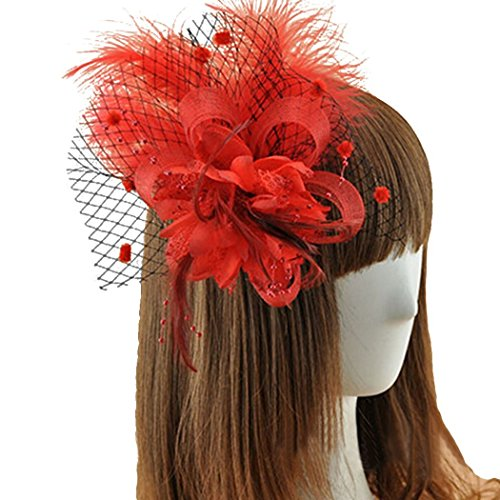 [Coolr Fascinator Hair Clip Feather Wedding Headwear Bridal Headpiece for Women (Red)] (Cute Gothic Girl Halloween Costumes)