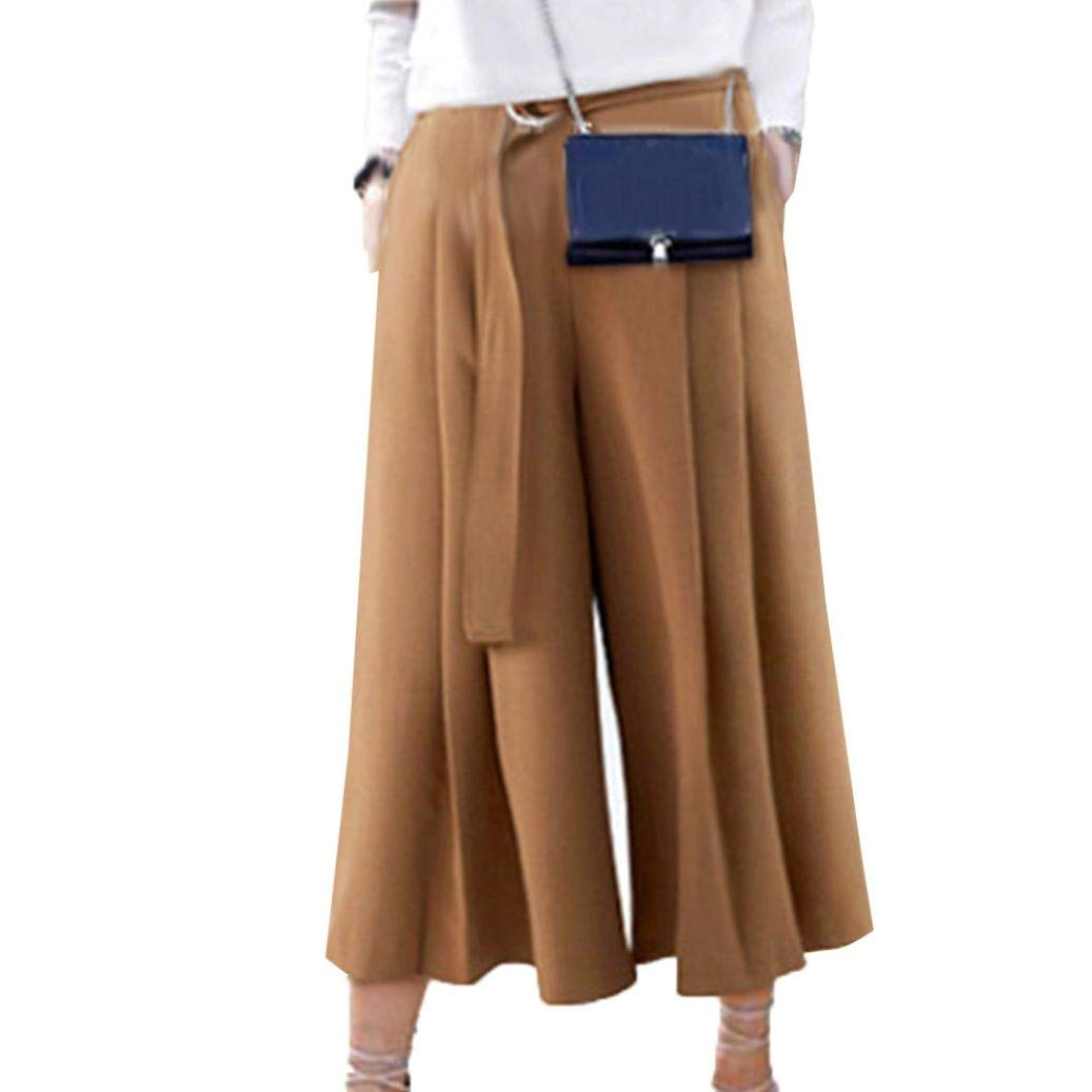 Women's Palazzo Pants,Large Size Straps Flared Wide Leg Trousers by-NEWONESUN