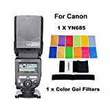 YONGNUO YN685 YN-685 (YN-568EX II Upgraded Version) Wireless HSS TTL Speedlite Flash Build in Receiver Worked with YN622C YN622II-C YN622C-TX YN560IV RF603 For Canon+ EACHSHOT Color Filters