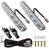 AUTOMONACH Car Headlight DRL 6 LED High/Low Beam High Power LED Daytime Running Lights Driving Lamp DRL Xenon White 2-PACK