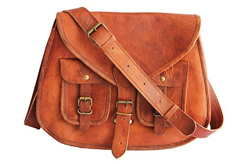 14 Inches Rugged- Chic Distressed Leather Women Sling Bag (Bag Saddle Sling)