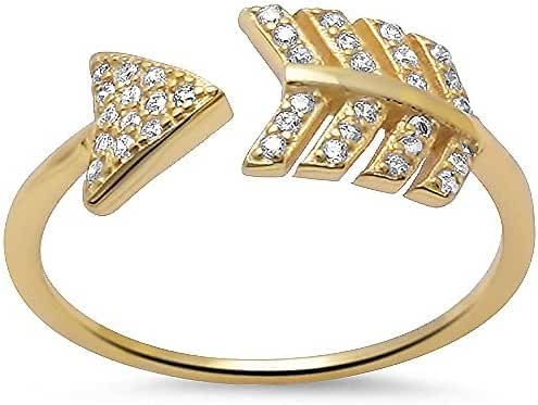 Yellow Gold Plated Arrow Cubic Zirconia .925 Sterling Silver Ring Sizes 5-10