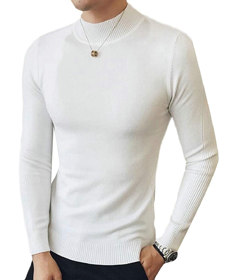 Ptyhk RG Men Solid Knitted Slim Fit Sweater Mock Neck Long Sleeve Pullover Sweater