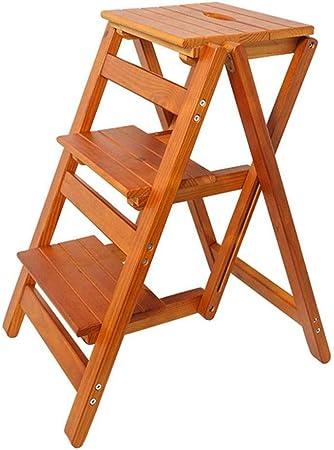 YAHAO Taburete Plegable De 3 Peldaños Taburete/Escalera Silla, Escalera De Madera para El Hogar Tijera Escalera Alta Taburete Alto Herramienta De Jardín En Casa: Amazon.es: Hogar