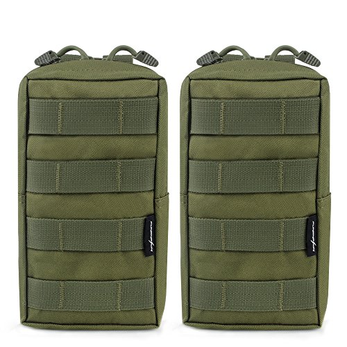 2-Pack Molle Pouches – Tactical Compact Water-resistant EDC Pouch (Olive Green)