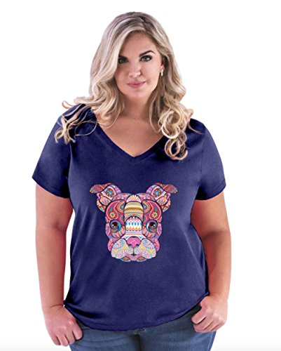 Novelty T-Shirt Boston Terrier Mosaic Women's Plus Size V-Neck Tee