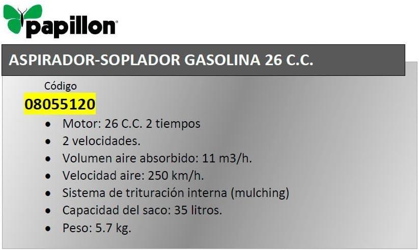 Aspirador Soplador Papillon Gasolina 26 cm³.: Amazon.es: Bricolaje y herramientas