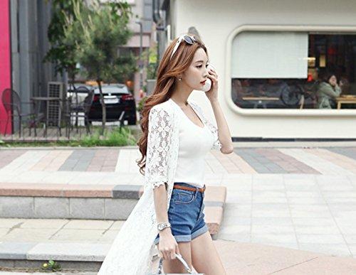 [パンプアップ] レディース 花柄 ロング カーディガン 春 夏 レース シースルー M ? XXL