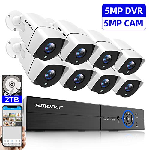 - 【5MP】8CH Security Camera System,SMONET 5-in-1 Video DVR Recorder(2TB Hard Drive),Surveillance Security System with 8pcs Outdoor Surveillance Cameras,Smartphone/PC Easy Remote Access,Super Night Vision