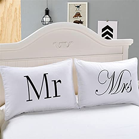 MR and MRS Pillowcases, Novelty Romantic Anniversary Valentine's Gift King Size AHZZY