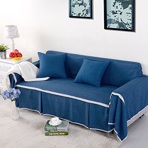 yazi Blue Washable Sofa Cover CouchRemovable Sette Anti-Slip Sofa Furniture Throw Slipcover Loveseat 85-102inch (Sette Furniture)