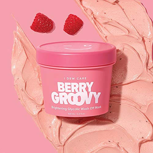 I DEW CARE Berry Groovy Mask 3.52 Ounces, Brightening Glycolic Wash-Off Mask, Revitalize Dull Skin, Face Mask Pack, Improve Skin's Texture, So Refreshing and Bright