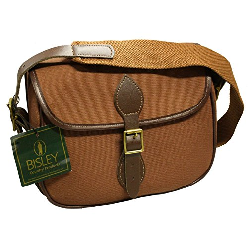 BISLEY cartridge bag 100 capacity Fox Tan canvas bag leather and brass fittings