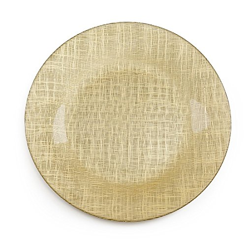 Gold Metallic Mesh Glass Charger Plate 4/pack