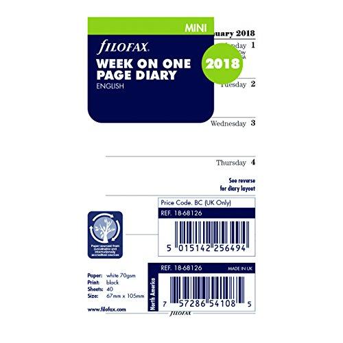 Filofax 2018 Refill, Mini Week on a Page, Jan 2018- Dec 2018, English, 4.125 x 2.625 inches (C68126-18)