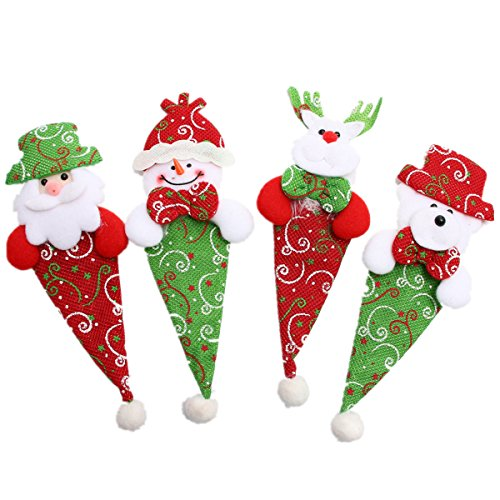 Hot Sales!! ZOMUSA Christmas Silverware Holders Christmas Cutlery Holders Cute Decoration for Christmas Dinner Table 4 pcs (4PCS)