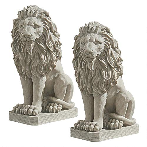 Design Toscano Mansfield Manor Lion Sentinel Animal Statue, 21 Inch, Set of Two, Polyresin, Antique Stone (Lion Statues Resin Outdoor)
