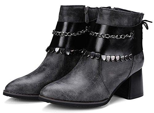 Zehen Chic Frauen Grau Kurze Easemax Spitze Knöchelhohe Seitlichem Mit Mitte Reißverschluss Blockabsatz Stiefel wFtxZqd5Z