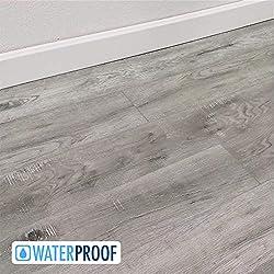 Turtle Bay Floors Waterproof Click WPC Flooring - Rustic Sawn Hardwood-Look Floating Floor - Choose from 2 Colors (Sample, Ellsworth)