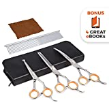 Premium dog grooming scissors kit Pet grooming tool set Stainless steel straight - thinning and curved sharp shears for small or large dogs - cats or other pets