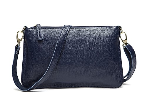 Para Mujer De Piel Simple Color Sólido Bolsos Patrón De Litchi Embrague Del Sobre DarkBlue