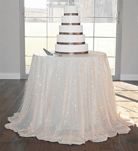Diameter 48'' Round Ivory Sequin Tablecloths, Ivory Sequin Round Table cloths, Ivory Sequin Table linens for Wedding