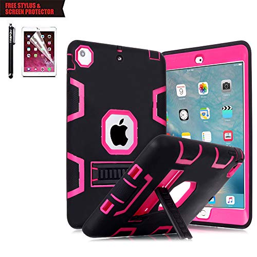 TabPow iPad Air 2 Case, [Hybrid Shockproof Case] Rugged Triple-Layer Shock-Resistant Drop Proof Defender Case Cover with Kickstand [Full Warranty] for iPad Air 2 with Retina Display/iPad 6, Hot Pink (Apple Ipad Air 2 Case Otter Box)