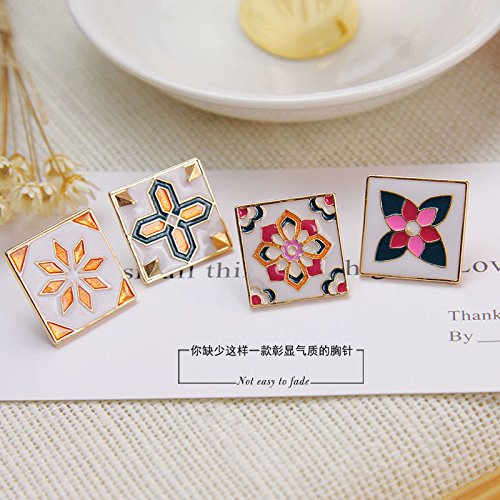 Over a range of simple retro totem printing square collar collar wild female corsage brooch pin female cufflinks