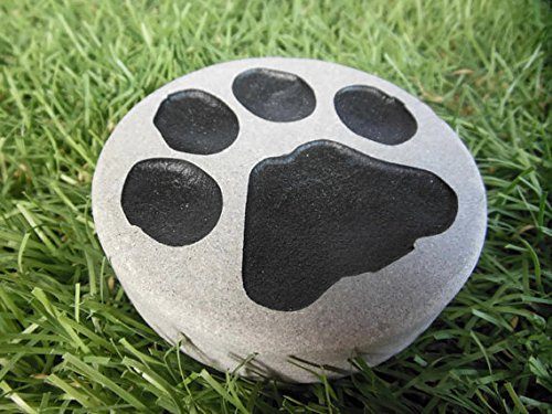Paw Print Garden Paperweight Natural Stone 3in. Dia