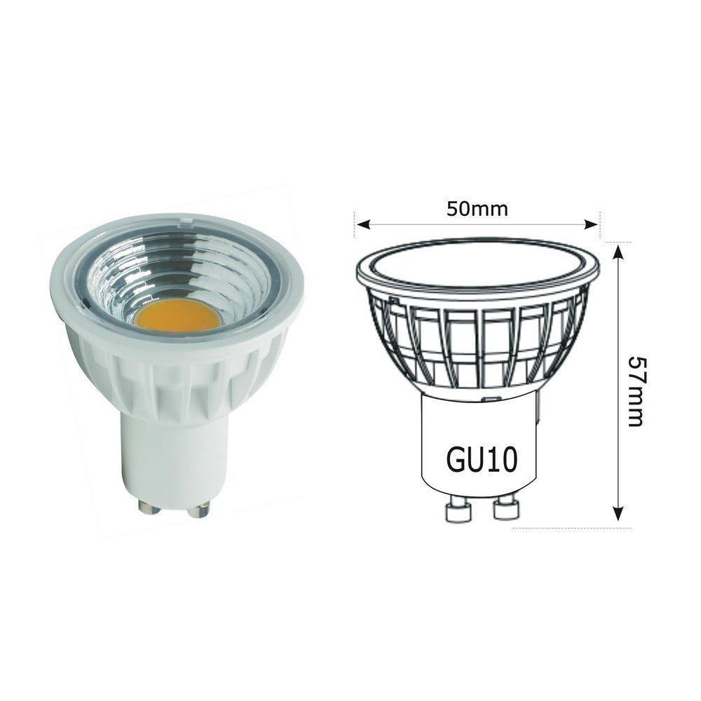 Bombilla LED de 5.5W Gu10,AC230V,Equivalente 50-60W GU10 Bombillas hal/ógenas No Regulable RA90,550LM 4000K Blanco Natural,Iluminaci/ón empotrada,Foco,AC85-265V,90/°/ángulo de haz,Paquete de 10 unidades.