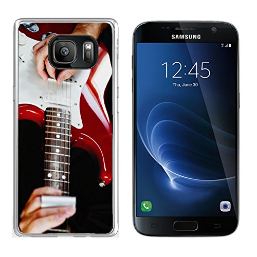 Luxlady Samsung Galaxy S7 Clear case Soft TPU Rubber Silicone IMAGE ID 31511081 Guitarist playing vintage fender stratocaster guitar